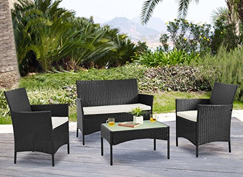 Palm Springs Deluxe 4 Piece Rattan Sofa Set w/Chairs, Tables & Cushions - - Springs Palm Wicker