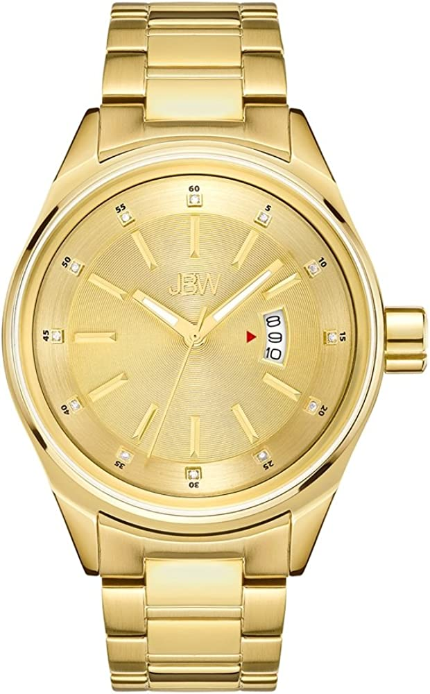 JBW Men s Rook J6287F Analog Display Japanese Quartz Diamond Watch with Leather or Stainless Steel Band