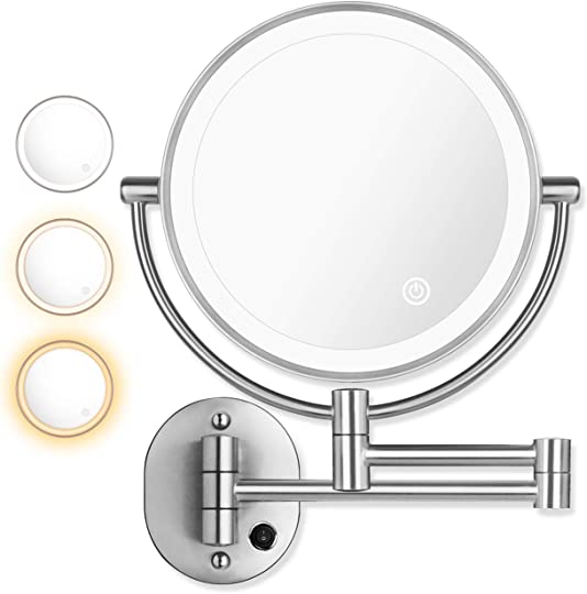 AmnoAmno 8.5″ LED Double Sided Swivel Wall Mount Vanity mirror-10x Magnification,13.7″ Extension,3 Colors Mode Adjustable Light Mirror