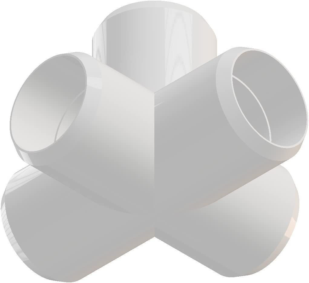 Pack of 8 White Furniture Grade 5way 3//4 inch PVC Elbow Corner Side Outlet Tee Fitting
