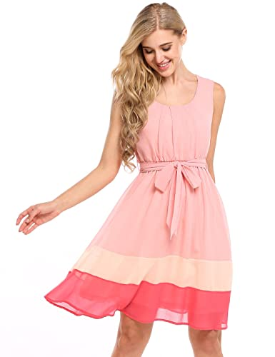 Zeagoo Womens Sweet Sleeveless Fit and Flare Colorblock Casual Chiffon Dress With Belt