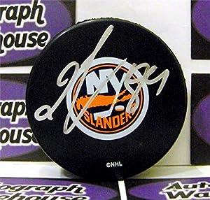 Autograph Warehouse 244355 Mikhail Grabovski Autographed Hockey Puck - New York Islanders SC