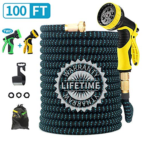FIENVO 100ft Upgraded Expandable Durable No-Kink Flexible Garden Water Hose Set with Extra Strength Fabric Triple Layer Latex Core,3/4″ Solid Brass Connectors 9 Function Spray Hose Nozzle