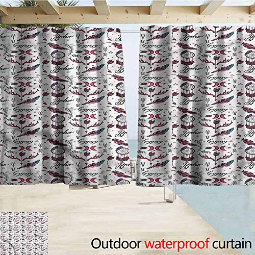 MaryMunger Blackout Curtain Tattoo Boho Gypsy Style Pattern Energy Efficient, Darkening W63x45L Inches