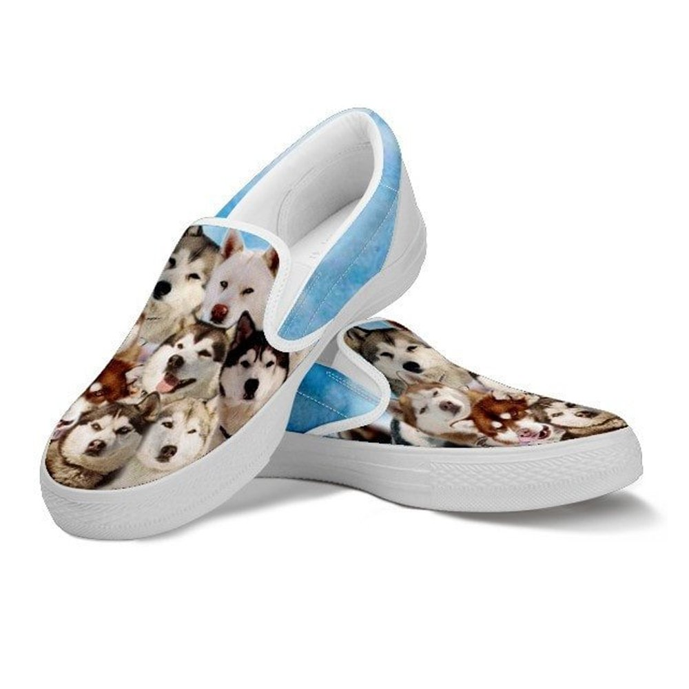 Cute Siberian Husky in Eight Below Movie Style Dog Print Slip Ons Shoes for Kids for Siberian Husky Lovers