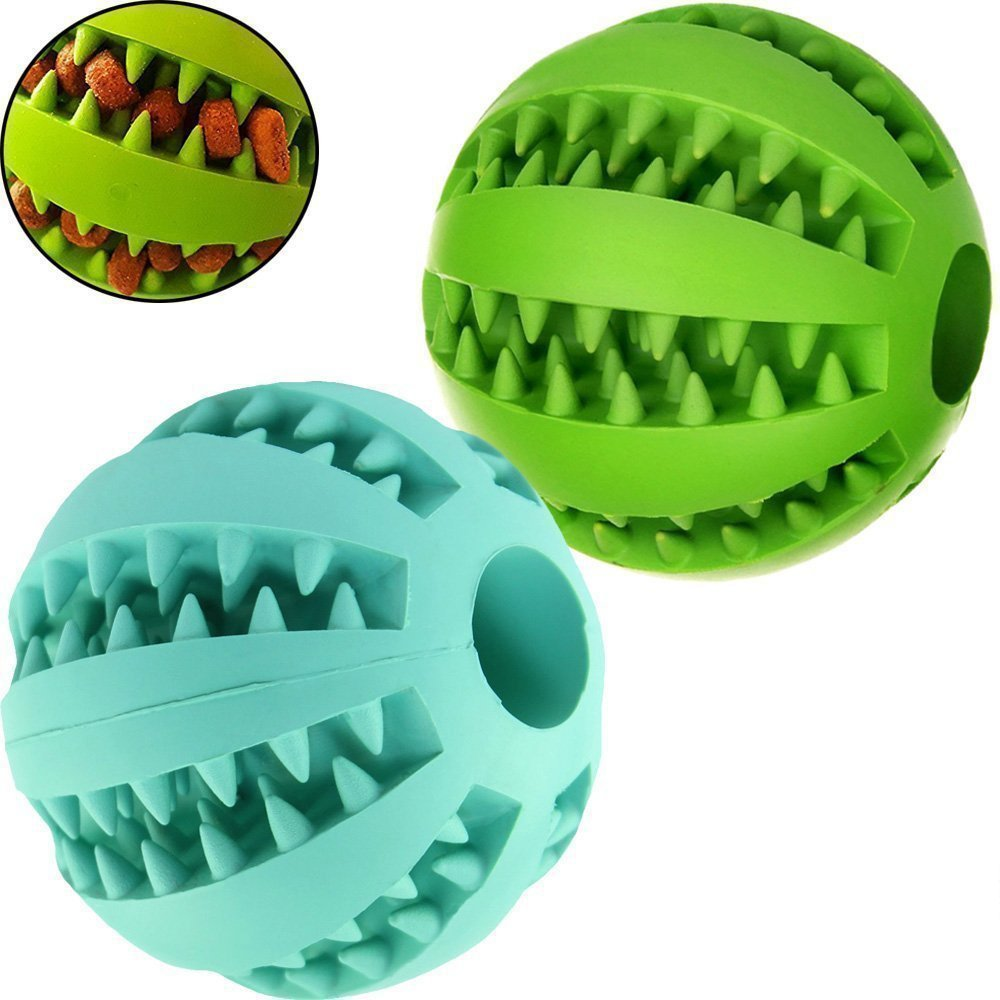 MixMart Natural Rubber Dog Toy Balls (2.6in) with Minty Scent-2 Pack (Grass Green/Mint)