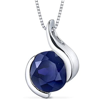 93053811dde50 Created Blue Sapphire Pendant Sterling Silver Bezel Set 2.75 Carats