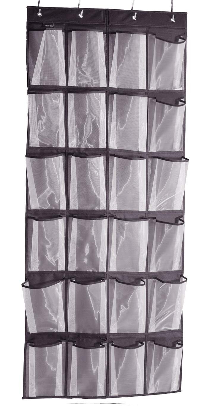 Misslo Sturdy Hanging Over the Door Shoe Organizer with 24 Large Mesh Pockets (Black) by MISSLO
