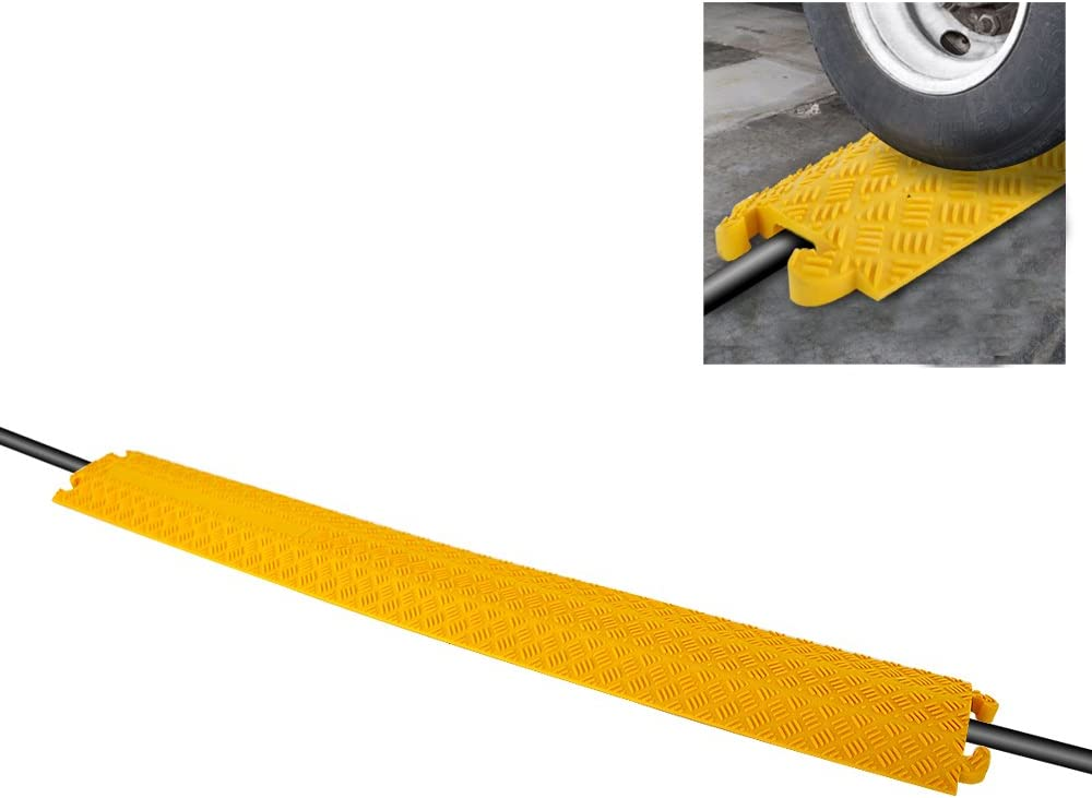 """Durable Cable Protective Ramp Cover - Supports 11000lbs Single Channel Heavy Duty Hose and Cord Track Floor Protection, 39.4"""" x 5.11"""" x 0.78"""" Cable Concealer for Indoor Outdoor Use - Pyle PCBLCO101"""