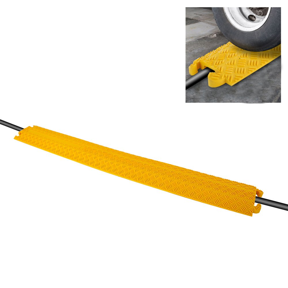 "Durable Cable Protective Ramp Cover - Supports 11000lbs Single Channel Heavy Duty Hose and Cord Track Floor Protection, 39.4"" x 5.11"" x 0.78"" Cable Concealer for Indoor Outdoor Use - Pyle PCBLCO101"