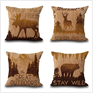 OCCIGANT Set of 4 Vintage Cabin Throw Pillow Covers Wildlife Moose Deer Elk Bear Outdoor Forest Tree Mountain Western Tribal Retro Pillowcases Cotton Linen Cushion Covers for Sofa Bed 18x18 Inch