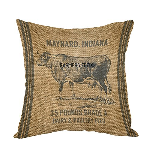 Moslion Vintage Cow Feed Sack Pillow,Home Decorative Throw Pillow Cover Cotton Linen Cushion for Couch/Sofa/Bedroom/Livingroom/Kitchen/Car 18 x 18 inch Square Pillow (Vintage Feed)