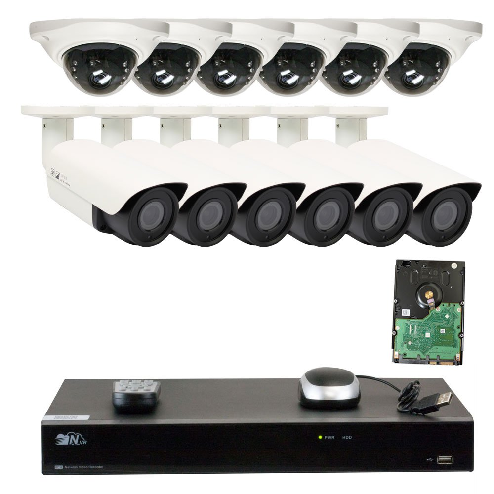 GW Security 16 Channel H.265 NVR (6) 15pc Array Bullet Camera + (6) Dome Camera w/Microphone Security System 6TB HD