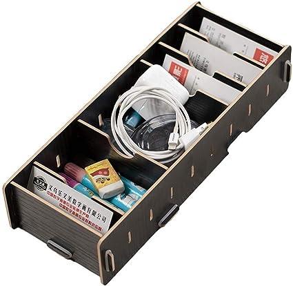 Caja para Tarjeta de visita de madera tarjetero caja de almacenaje multifuncional soporte de escritorio Masion 9 compartimentos para tarjeta de identidad de Etudiant carpeta de papel, color Negro: Amazon.es: Oficina y