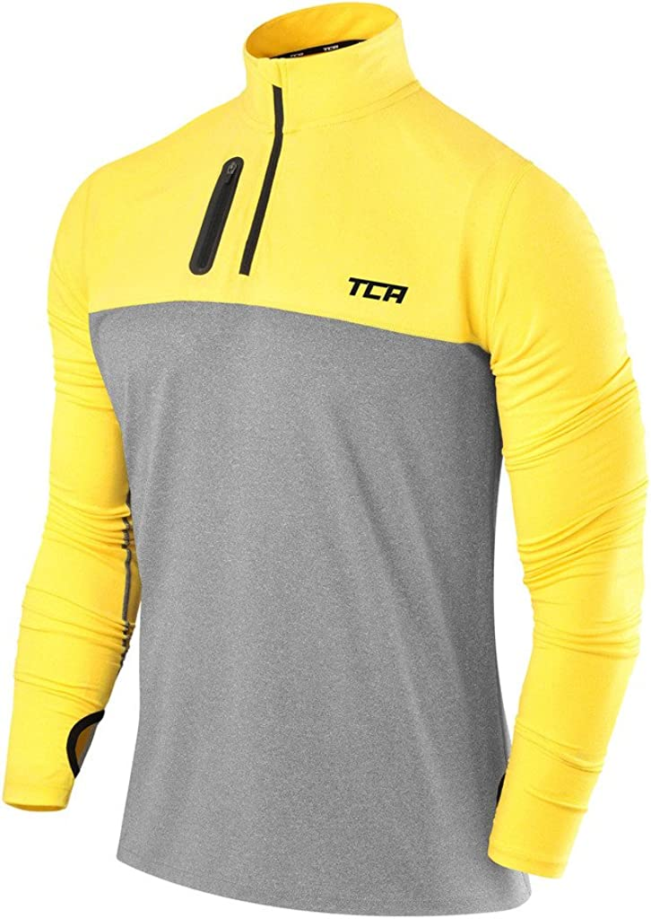 TCA Men's Fusion Pro Quickdry Long Sleeve Half-Zip Running Shirt: Clothing