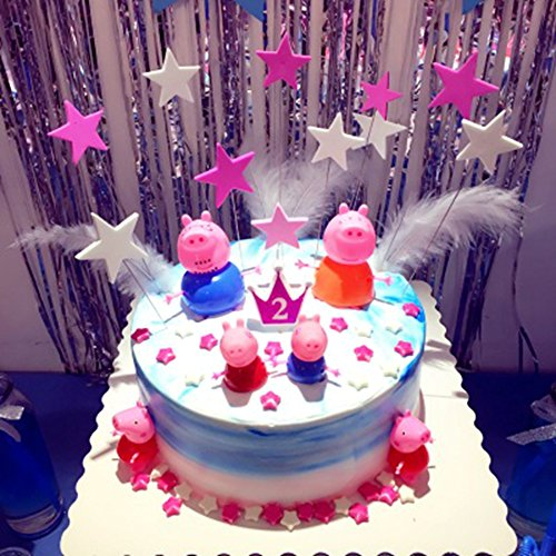 4pcs Peppa pig and a set of stars Cake Toppers Set Cupcake Toppers for Party Birthday Cake Decorations & Peppa Pig Cake Toppers - Shop Peppa Pig Cake Toppers Online