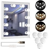 Tomshine Led-spiegellamp, Hollywood-stijl, 10 leds, licht met 3 lichtmodi, 5 dimbaar, rekbaar voor cosmeticaspiegel, make-uptafel, badkamerspiegel [energieklasse A+++]