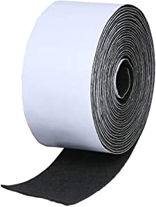 ETSAMOR 1pcs Self Adhesive Felt Tape Felt Strip Roll Black Fabric Sticky Back Sheets 1.96 inch x 0.04 inch x 14.7 feet Heavy Duty Furniture Pad for Art, Plant Pots and Craft Making