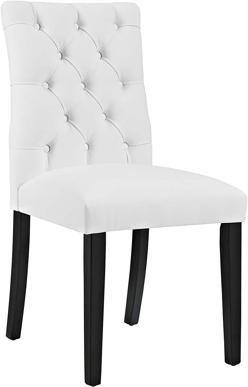 Modway MO- Duchess Modern Tufted Button Faux Leather Upholstered Parsons, Dining Chair, White
