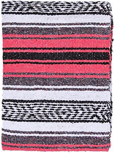 El Paso Designs Genuine Mexican Falsa Blanket - Yoga Studio Blanket, Colorful, Soft Woven Serape Imported from Mexico (Bright Coral) by El Paso Designs (Image #8)