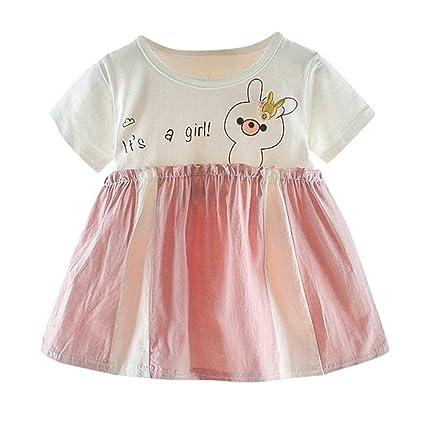 Amazon.com: Vestido de bebé de 0 – 2 años, de manga corta ...