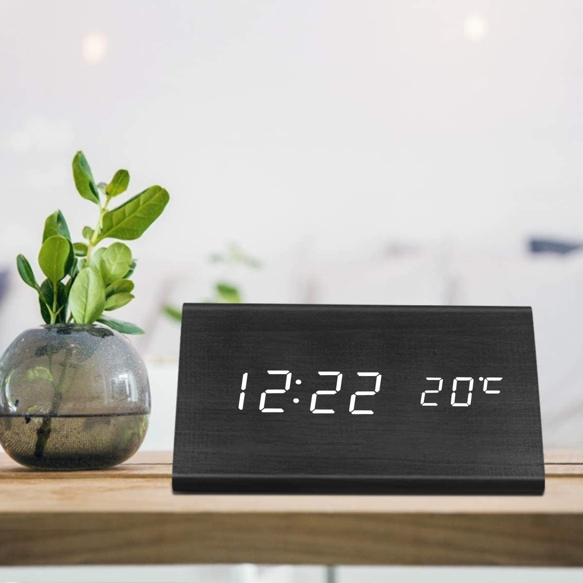 Digital Alarm Clock, Triangle Wooden Clock with LED Time Display, 3 Alarm Settings, Humidity Temperature, Electric Clocks for Bedroom Bedside, Black