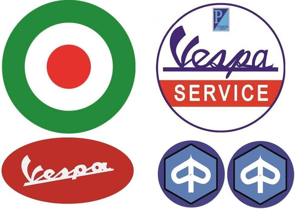 106 Vespa Aufkleber Set 5x Breite Je Sticker Ca 6 5cm 3cm Retro Roller Oldtimer Gts 150 300 50 Ccm Auto