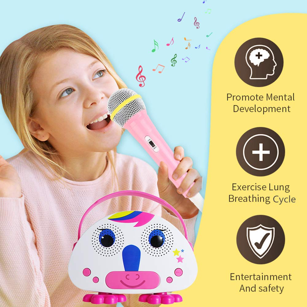 OceanEC Kids Bluetooth Karaoke Machine with Microphone, Rechargeable Children's Wireless Loudspeaker Portable Cartoon Karaoke Music MP3 Player Toy with Microphone for Party Gift (Pink) by OceanEC (Image #2)