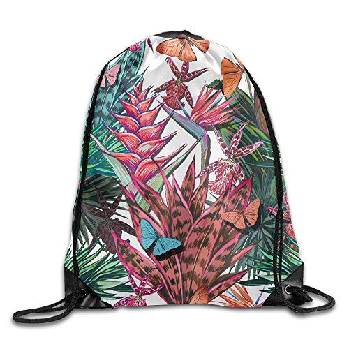 - Yishuo Beautiful Seamless Floral Jungle Pattern Background Colorful Tropical Flowers Palm Leaves And Drawstring Pack Beam Mouth Gym Sack Shoulder Bags For Men & Women