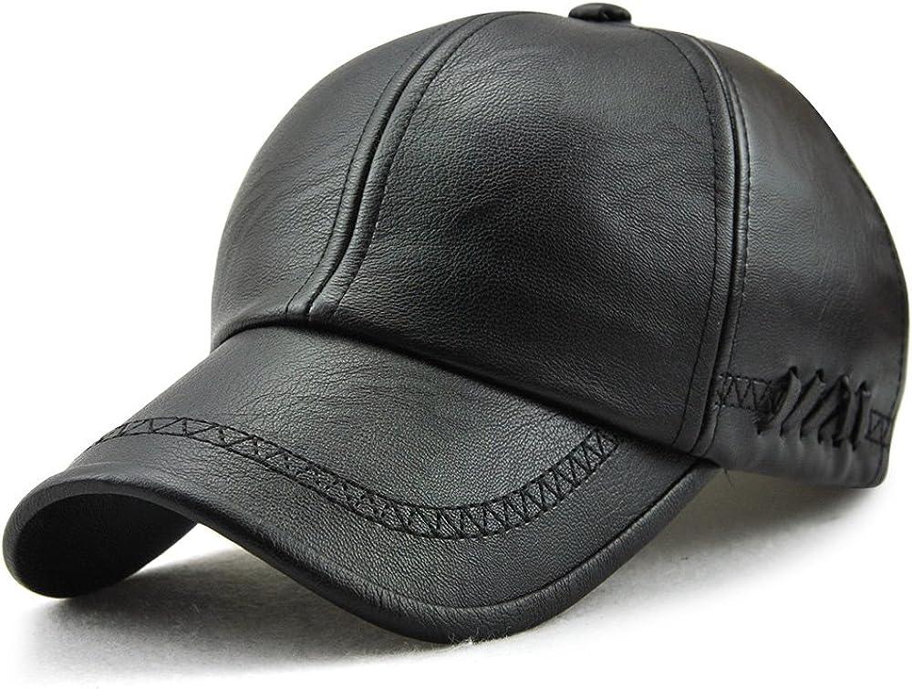 Ueither Gorra de Béisbol para Hombre Ajustable Sombrero de Cuero Suave de PU Sombrero Deportivo Al Aire Libre Otoño Invierno