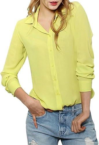 ShallGood Mujer Camisa Manga Larga Cuello En V Camiseta ...