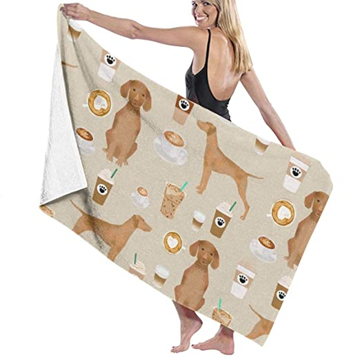 Vizsla Coffee Cafe Dog Pet Breeds Vizslas Tan Large Towel ...