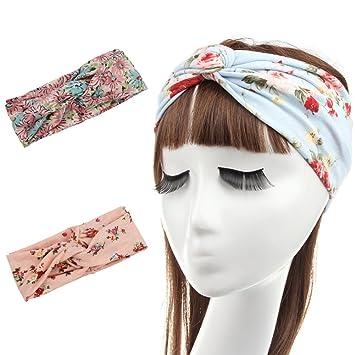 Amazon.com   FAYBOX Women Fashion Flower Stretchy Fitness Headbands Twist  Knotted Turban Headwrap Pack of 2   Beauty 2fd86b3dfee