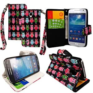 For Samsung Galaxy S4 Mini i9190 Various New Designs Stylish Printed PU Leather Magnetic Protected Flip Case Cover + Screen Protector (Multi Birds Sty