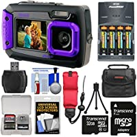 Coleman Duo 2V9WP Dual Screen Shock & Waterproof Digital Camera (Purple) with 32GB Card + Batteries & Charger + Case + Float Strap + Kit Key Pieces Review Image