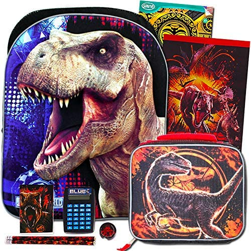 """Jurassic World Backpack and Lunch Box 10 Pc Set for Boys Kids ~ Deluxe 16"""" Jurassic Park Backpack with Detachable Insulated Lunch Bag (Jurassic World School Supplies)"""