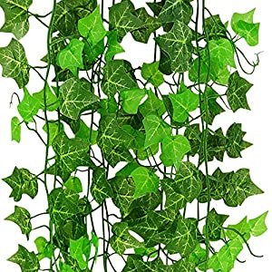 CLTPY Artificial Ivy Leaf Garland Hanging Plants Vine Fake Foliage Flowers for Outdoor Home Kitchen Garden Office Wedding Wall Decor 48