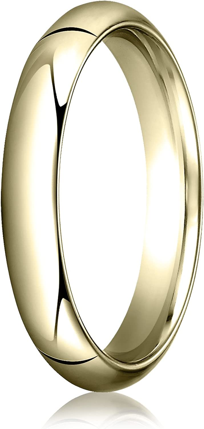 Men's 14K Yellow Gold 4mm High Dome Heavy Comfort Fit Wedding Band Ring