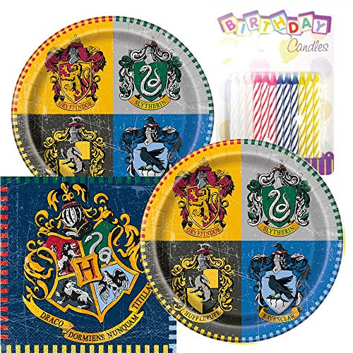 Harry Potter Party Plates and Napkins Serves 16 With Birthday Candles (Harry Potter Plates And Napkins)