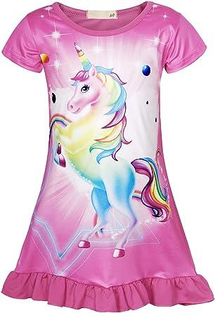 AmzBarley Camisón de Algodón Pijama Niña Unicornio Chica Manga Larga Vestido Fiesta Entero una Pieza Ropa de Dormir Traje Disfraz Ducha Noche: Amazon.es: Ropa y accesorios