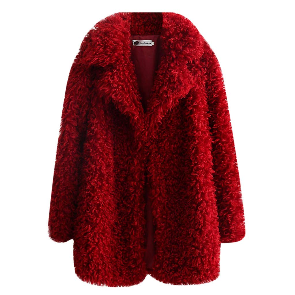 Shusuen Women's Fleece Furry Fuzzy Open Front Winter Coat Solid Color Outwear Jackets Red by Shusuen_Clothes
