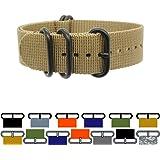 PerFit® ZULU4 Ballistic Nylon Zulu Watch Strap + Spring Bars, Field Ready + Fashion Forward, Heavy Duty + Washable