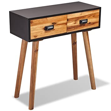 Festnight Console Table With 2 Storage Drawers Writing Desk For Home Office  Living Room Furniture Acacia