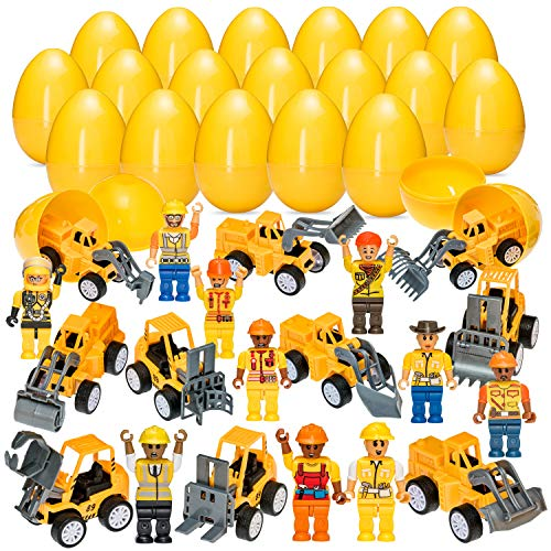 Easter Eggs with Construction Mini Figurines and Pull Back Construction Cars -Jumbo Set - 3