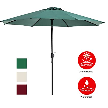 UHINOOS Patio Umbrella 9 Ft Durable Alloy and Ribs Outdoor Umbrella Made of 100  sc 1 st  Amazon.com : fade resistant patio umbrella - thejasonspencertrust.org