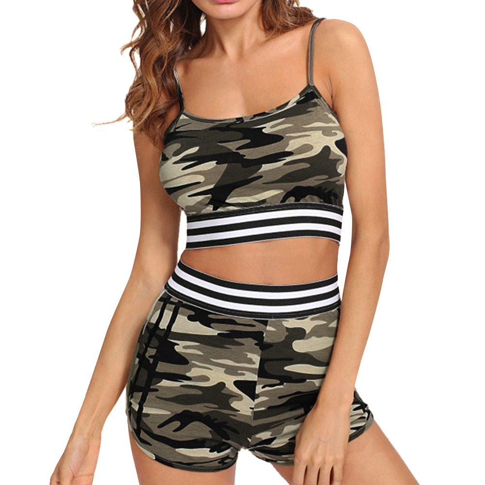 iBaste Tankini Damen Push Up mit Shorts Bademode Camouflage Neckholder Bikini Damen Badeanzug Bikini Sets