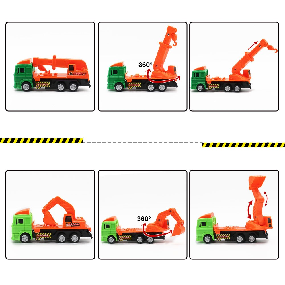 Nuheby Toy Cars 12pcs Push and Go FrictionCars Pull Back Cars Digger Crane Dumper Tanker Toy Mixer Toy Truck Vehicle Engineering Car Model for Kids 3+