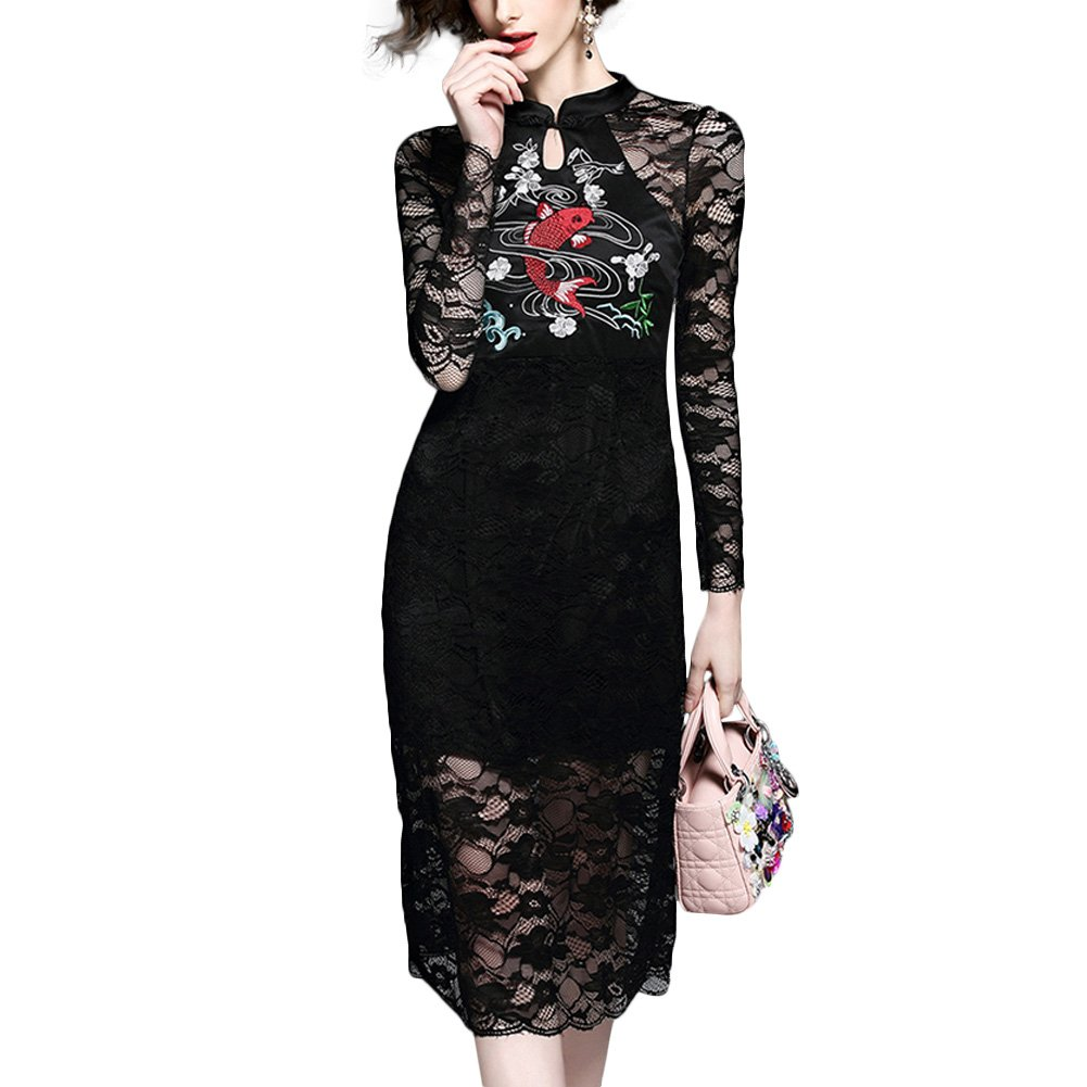 Women Embroidered Lace Bodycon Dress Long Sleeve Stand