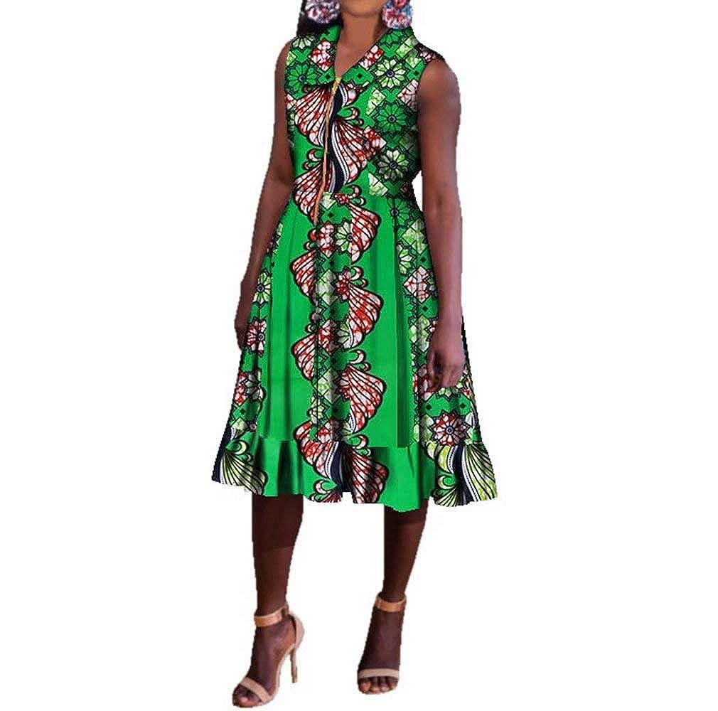 24fs1141 BintaRealWax Womens Casual Sleevelss African Shirt Dress Knee Length Ankara Aline Dress