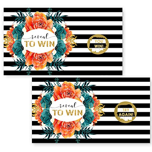 Bold Floral Scratch Off Game Set of 28 (3 Winners) Black Stripe, Teal & Tangerine Bridal, Baby Shower or Party Activity